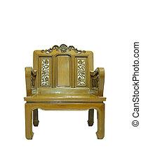 antik, træagtig stol, isoleret, på hvide, baggrund