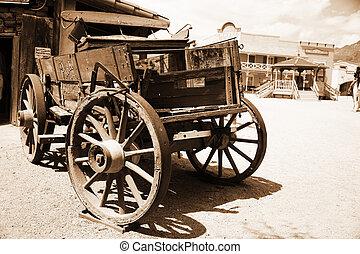 antik, város, öreg, kordé, amerikai, western