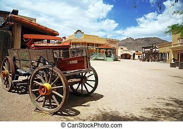 antik, város, öreg, usa, arizona, , kordé, amerikai, western