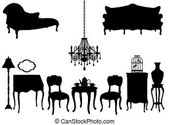 antik, vektor, furniture