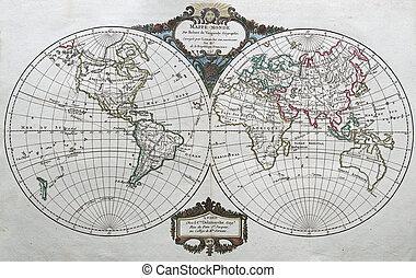 antik, világ, eredeti, térkép