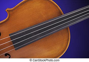 antik, violin, isoleret, på, blå
