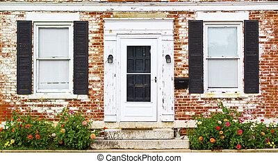 antik, virág, ajtó, windows, ágy, elülső