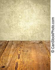 antik, wooden asztal, előtt, viharvert, fal