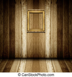 antik, wooden keret, szoba, arany