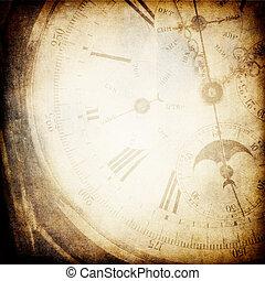 antik, zseb, óra, háttér., arc