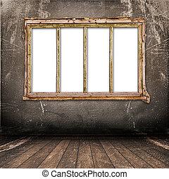 antika gamla, vägg, metall, spika, fönster