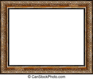 antikes , bild, goldenes, rahmen, freigestellt, rustic,...