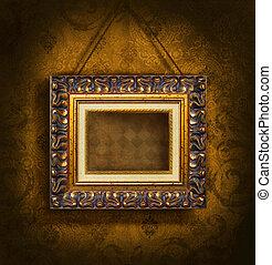 antikes , bilderrahmen, tapete, gold