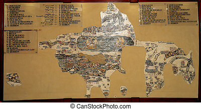 antikes diagramm, heilig, madaba, mitte, reproduktion,...