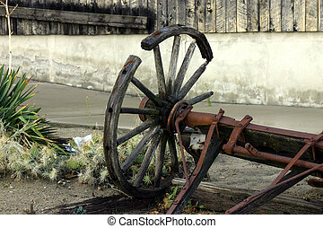 antikes , fuhrwerk, altes , kaputte , &, rad
