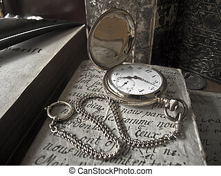 antikes , goldenes, uralt, blatt, papier, pocketwatch,...