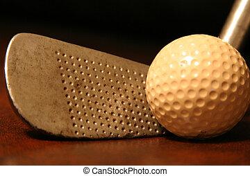 antikes , golfschläger, mit, b.a.