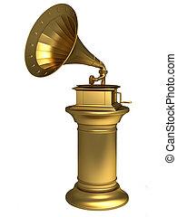 antikes , grammophon, gold