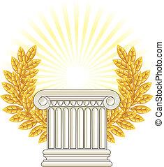 antikes , griechischer , spalte, und, gold, lorbeer