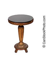 antikes , hölzern, runde tabelle, freigestellt, weiß, hintergrund