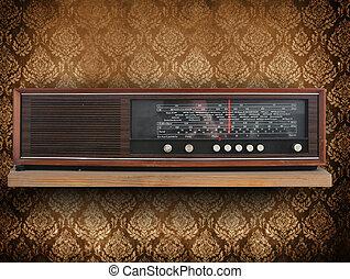 antikes , hintergrund, radio, retro