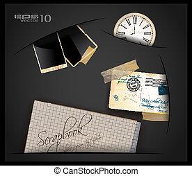 antikes , hole., wenig, gebraucht, altes , uhr, papier, weinlese, postcard., rahmen, füllen, kommen, sammelalbum, foto, heraus