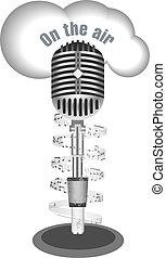 antikes , merkzettel, mikrophon, musik