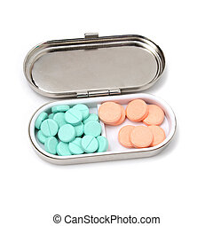 antikes , pille- kasten, mit, grün, und, orange, tabletten