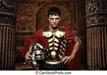antikes , soldat, römisches , gegen, gebäude.