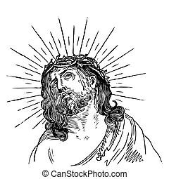 antikes , stich, (vector), jesus