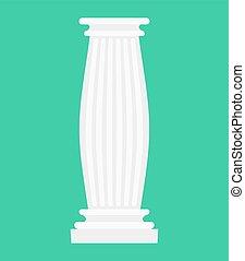 antikes , uralt, post., isolated., säule, spalte, griechischer , architektonisch