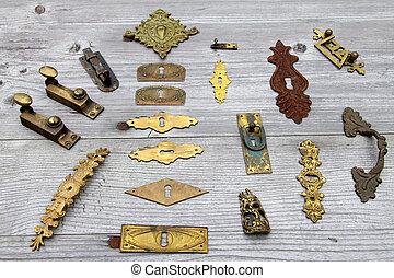 antikes , viele, hardware, tür verschließt