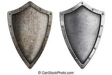 antikisiert, metall, schutzschirm, satz, freigestellt, weiß