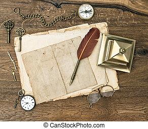 antikvitet, ämbete levererar, och, tillbehör, på, trä tabell