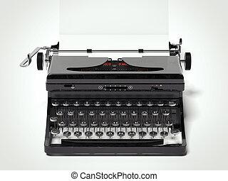 antikvitet, årgång, bärbar, typewriter., 3, framförande