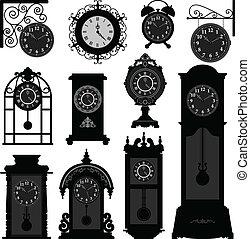 antikvitet, årgång, klocka, gammal tid