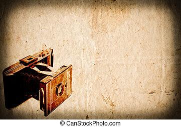 antikvitet, årgång, papper, kamera, bakgrund