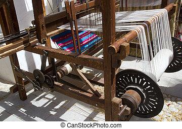 antikvitet, årgång, spinnare, maskin, arbete