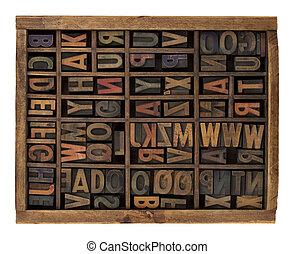 antikvitet, alfabet, ved, slagen, boktryck