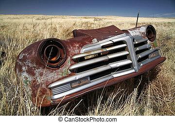 antikvitet, amerikan, bil, utomhus