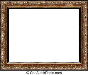 antikvitet, bild, gyllene, ram, isolerat, rustik, mörk