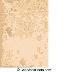 antikvitet, bladen, bakgrund, höst