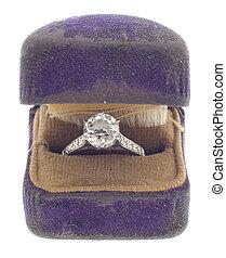 antikvitet, diamant, från, 1920, in, slitet, påringning boxa