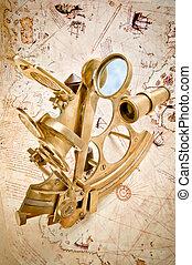antikvitet, domän, sextant, upphovsrätt, över, -, kartlägga, polerat, expired), (public, gammal, mässing, navigation