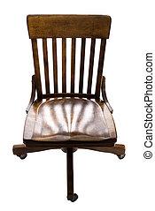 antikvitet, ek, ämbete skrivbord, stol