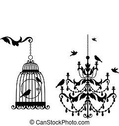 antikvitet, fågelbur, och, ljuskrona