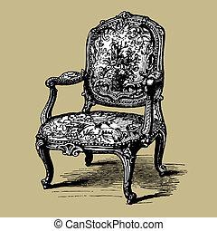 antikvitet, fåtölj, barock