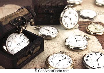 antikvitet, ficka, clocks, retro, silver