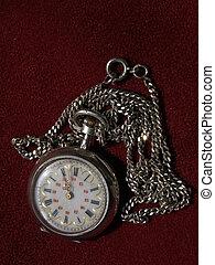 antikvitet, ficka, klocka