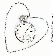 antikvitet, ficka, klocka, med, kedja