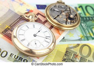antikvitet, ficka, klocka, och, pengar