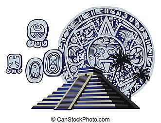 antikvitet, glyphs, mayan, pyramid