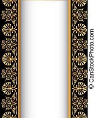 antikvitet, gold(en), gammal, fond mönstra