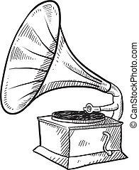 antikvitet, grammofon, skiss